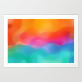 modern abstract design with orange and blue Art Print