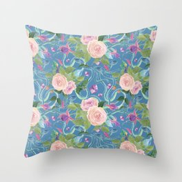 blue snakes pattern Throw Pillow