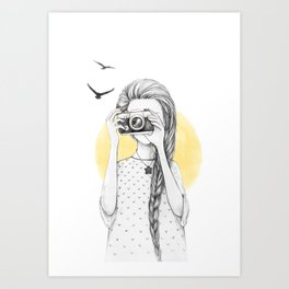 Girl with vintage camera Art Print