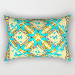 Western Style Turquoise Butterflies Creamy Gold Patterns Art Rectangular Pillow