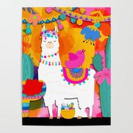 Fiesta Llama Poster