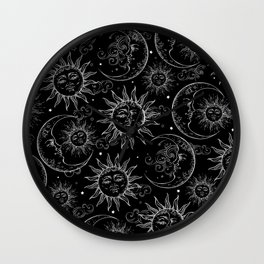 Black Magic Celestial Sun Moon Stars Wall Clock