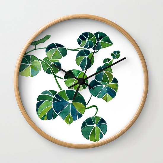 Watercolor Bonsai Plant Stephania Erecta Potato Plant Wall Clock By Alishathunem Society6