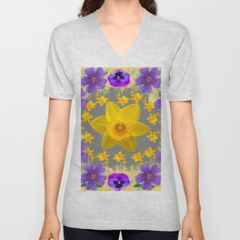 SPRING PURPLE  FLOWERS DAFFODIL ART DESIGN Unisex V-Neck