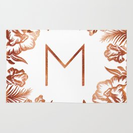 Letter M - Faux Rose Gold Glitter Flowers Rug