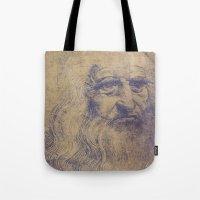 da vinci Tote Bags featuring Da Vinci by LK Winwright