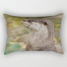 Otter Amongst Autumn Leaves Rectangular Pillow