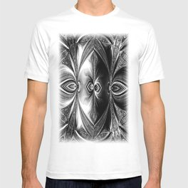 Abstract.White+Black Peacock. T-shirt
