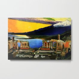 Sicily, Ruins of the Greek Theater at Taormina by Csontvary Kosztka Tivadar Metal Print