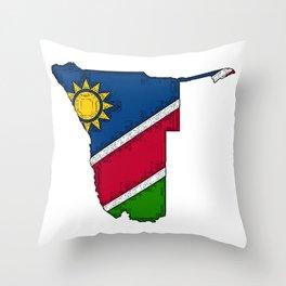 Namibia Map with Namibian Flag Throw Pillow