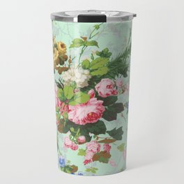 Antique romantic vintage 1800s Victorian floral shabby rose flowers pattern aqua mint hipster print Travel Mug
