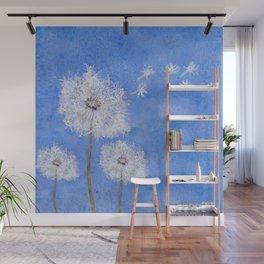 flying dandelion watercolor painting Wall Mural