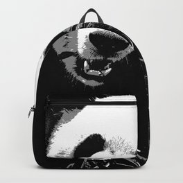 Cute Giant Panda Bear with tasty Bamboo Leaves Backpack