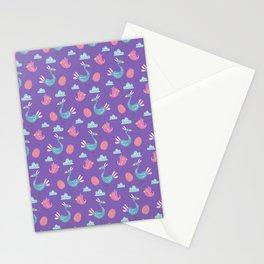 Modern green pink violet hand drawn birds pattern Stationery Cards