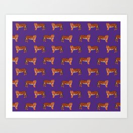 Tigers orange and purple clemson football fan varsity university college athletics Art Print