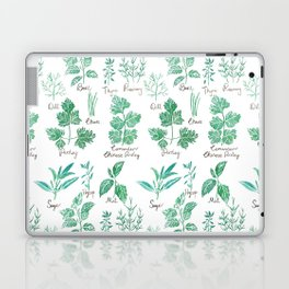 green herbs family watercolor Laptop & iPad Skin
