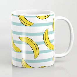 Banana summer fruits pattern on blue stripes Coffee Mug
