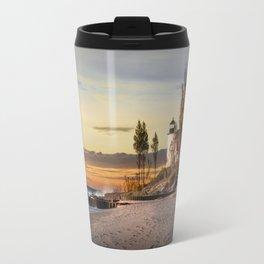 Point Betsie Lighthouse at Sunset Travel Mug