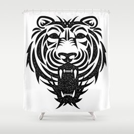 Tiger head / Vintage ink style / Animals Tattoo Shower Curtain