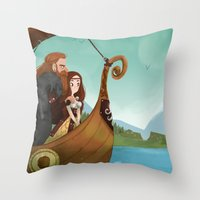 vikings Throw Pillows featuring Vikings by Supergna