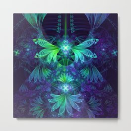 The Clockwork Kite Wings of a Blue-Green Dragonfly Metal Print