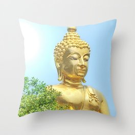 sitting budda in blue sky Throw Pillow