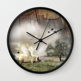 Pig with Wings Wall Clock