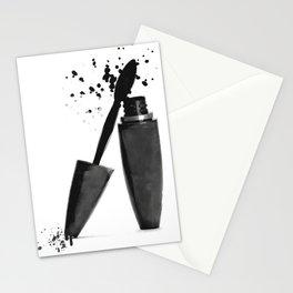 Black mascara fashion illustration Stationery Cards