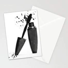Black mascara fashion illustration Stationery Cards