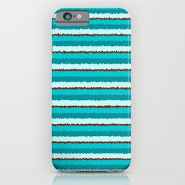 Aqua and Red Wobbly Horizontal Lines iPhone Case