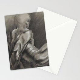 Nude Male Figure Study, Black and White.  Stationery Cards