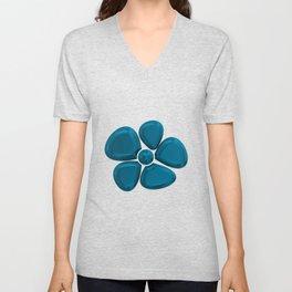 flower 5 blue Unisex V-Neck