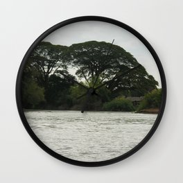 Tropical Forest Trees Evening Mekong River Ladscape, Laos Wall Clock