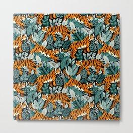 Bengal Tiger Teal Jungle Metal Print