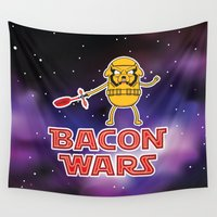 bacon Wall Tapestries featuring Bacon wars by Enrique Valles