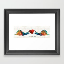 Snail Art - Love Grows Here - By Sharon Cummings Framed Art Print