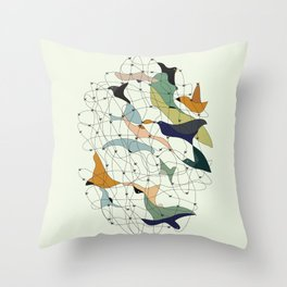 Chained birds Throw Pillow