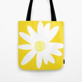 Only One White Daisy Flower Yellow Mellow Background #decor #society6 #buyart Tote Bag