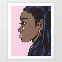 Crying Comic Black Girl Art Print