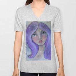 Purple Hair Whimiscal Girl Unisex V-Neck