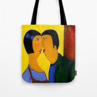 couple Tote Bags featuring couple by agnes Trachet
