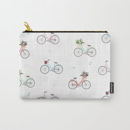 Bikes and Baskets Pattern Carry-All Pouch