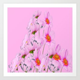 PASTEL FUCHSIA PINK COSMOS FLOWERS  ON PINK COLOR Art Print