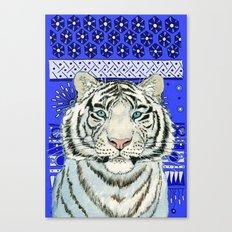 White Tiger in blue Az024 Canvas Print