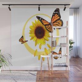 ORANGE MONARCH BUTTERFLIES & SUNFLOWER  PATTERN Wall Mural
