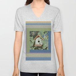 Birdhouse in barnwood, blue sage green taupe Unisex V-Neck