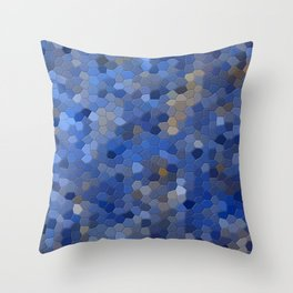 Blue mosaic tile abstract Throw Pillow