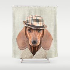 The stylish Mr Dachshund Shower Curtain