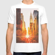 NYC Skyline Sunset Mens Fitted Tee White X-LARGE