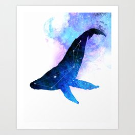 Space Whale | Whale Constellation | Double Exposure Whale Art Print